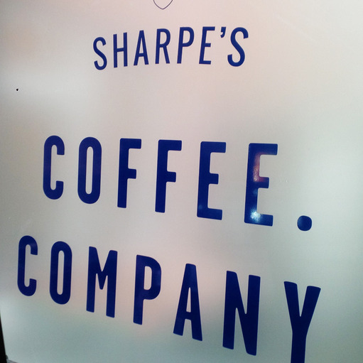Sharpe's. Coffee. Company. sign