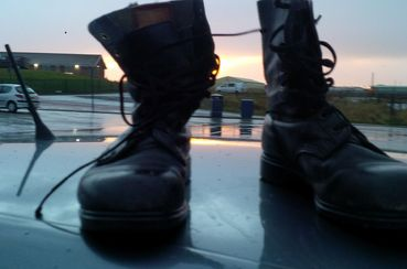 FirstLight Boots on top of a car