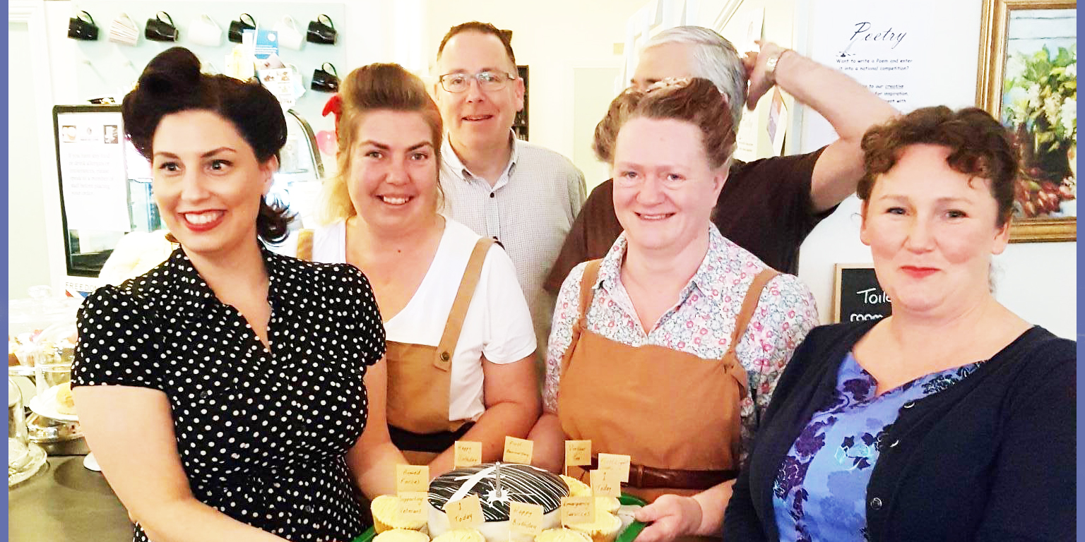 Staff celebrate the first birthday of Sharpe's, Gosport's veteran's cafe