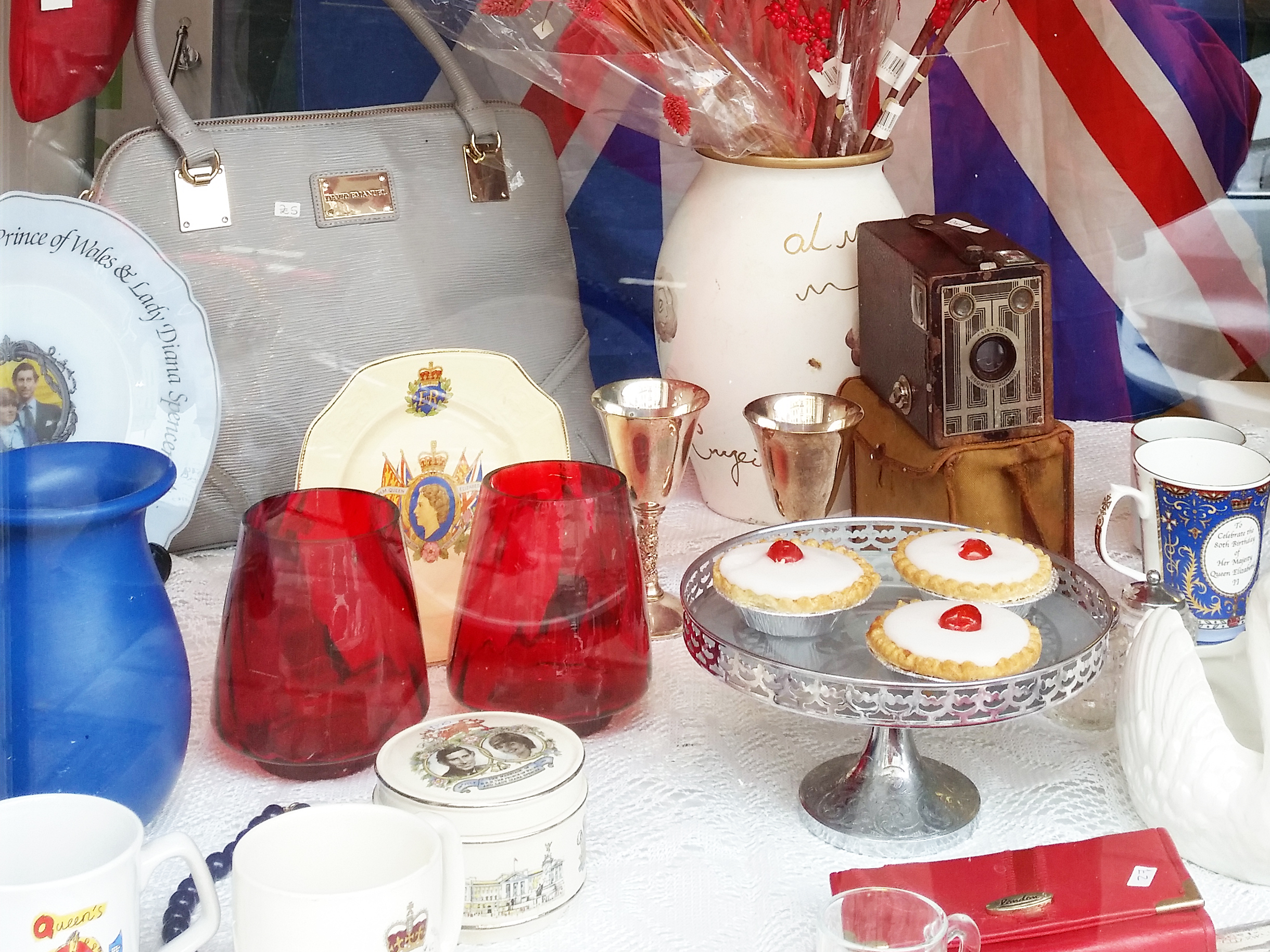 Scarborough shop window for Armed Forces Day in red, white and blue